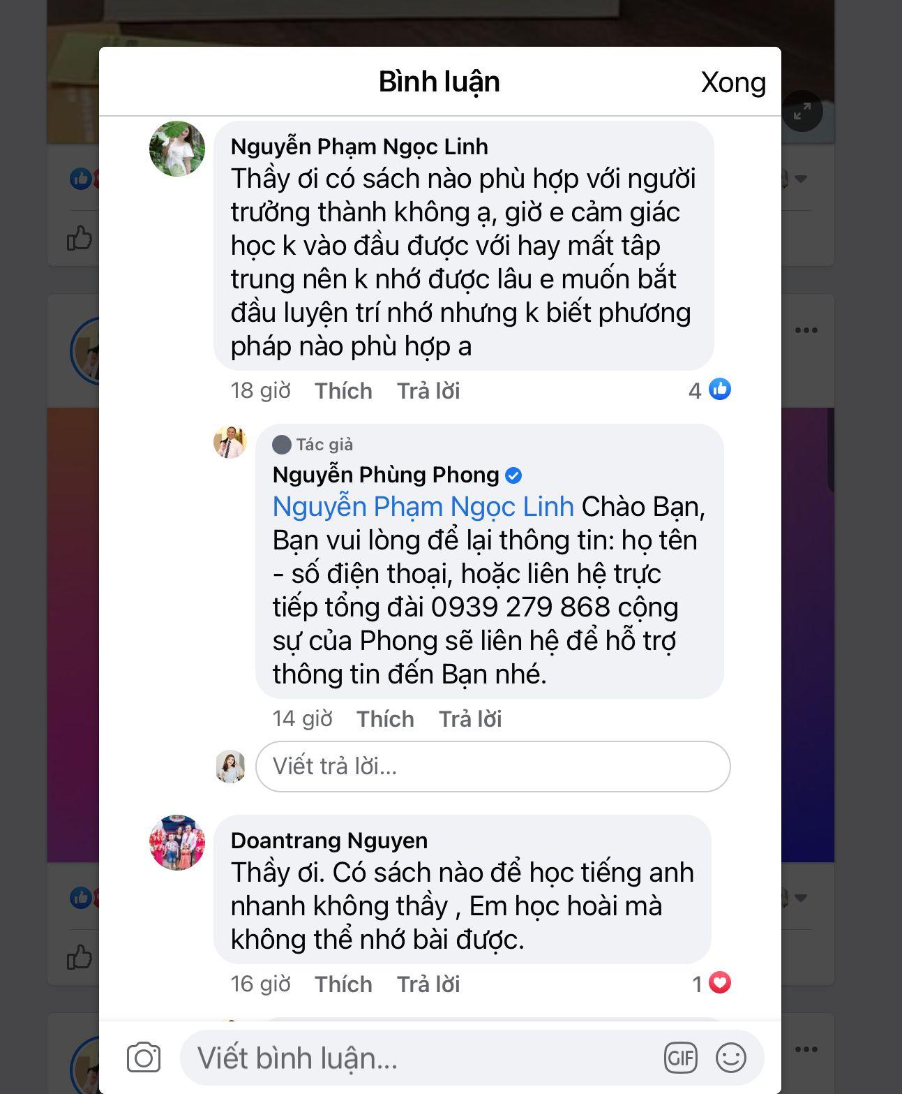 Ảnh chụp màn hình bình luận từ cộng đồng trên fanpage Nguyễn Phùng Phong